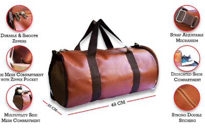 Fitness Factory Sports/Gym Leather Duffle Bag