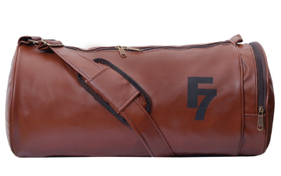 Fashion 7 Leather 30L Tan Sports Duffle Bag
