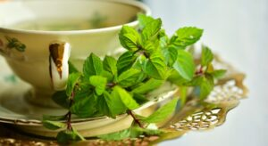 Sip a Cup of Tea with Herbal Leaves