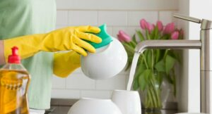 Wear Rubber Gloves When Washing Dishes